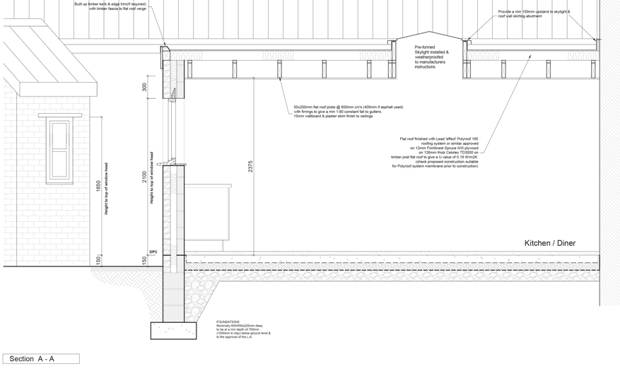 Architects extension design architect plans & drawings building regulations section detail