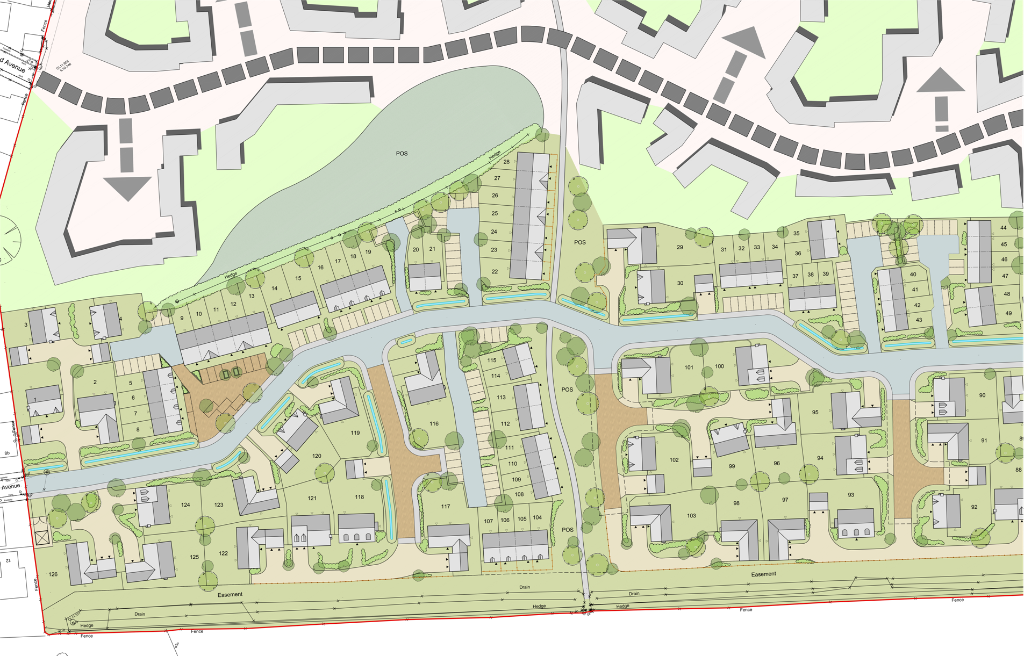 Architects coloured CAD layout for a local housing developer, architect drawing master plan
