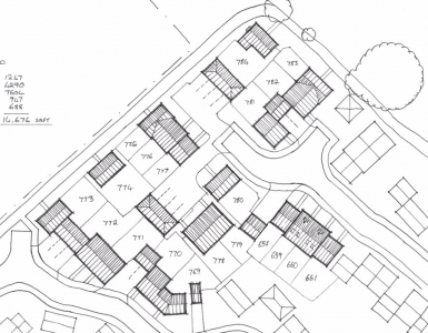 Architects hand drawn sketch scheme layout for a national housing developer, architect drawing plans