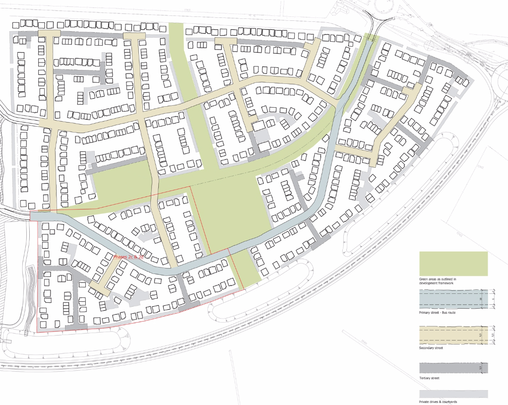 Architects squiggled CAD layout for a national housing developer, architect drawing outline planning plans