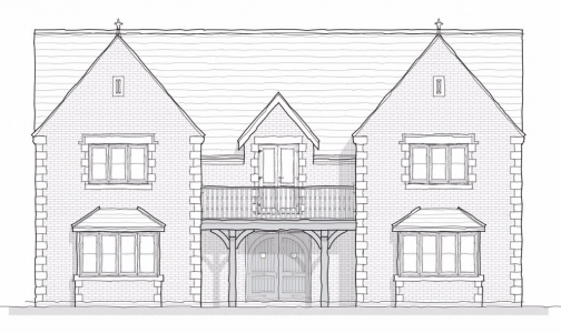 Architects elevation detail, architect designed individual exclusive home new build, planning squiggled elevation drawing