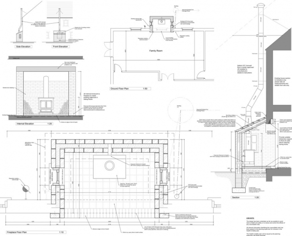 Architects extension design architect plans & working drawings building regulations section detail