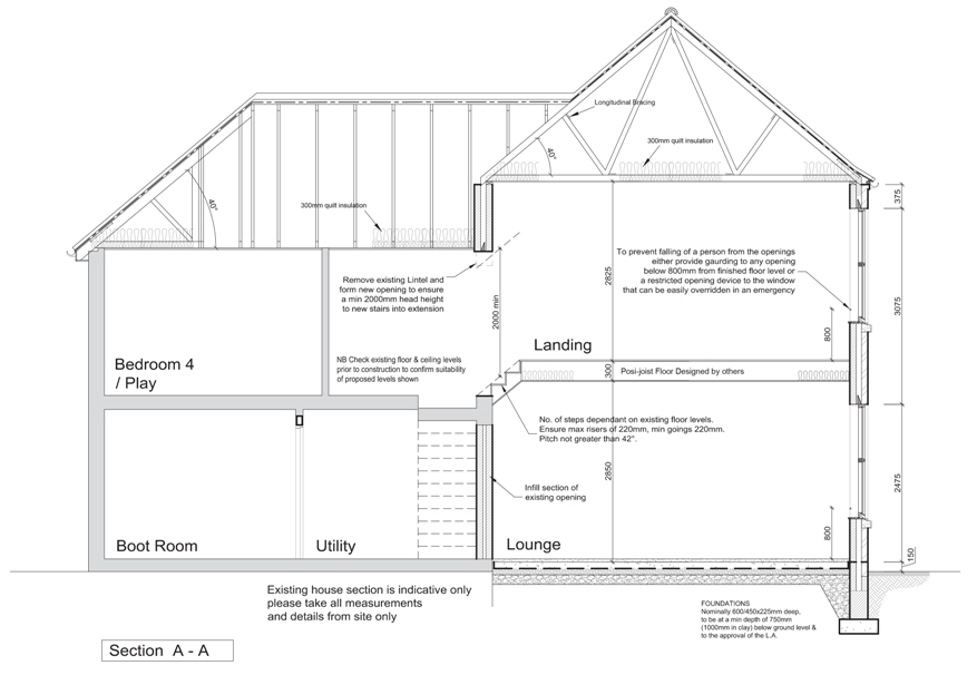 Architects extension design architect plans & drawings allisons detached 3 bed house building regulation Section detail