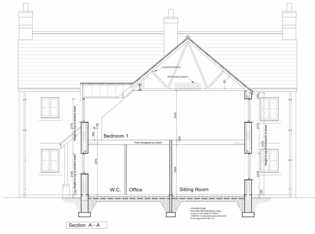 architects section drawing new build individual dwelling architect design plans